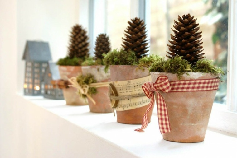 decorar para navidad macetas
