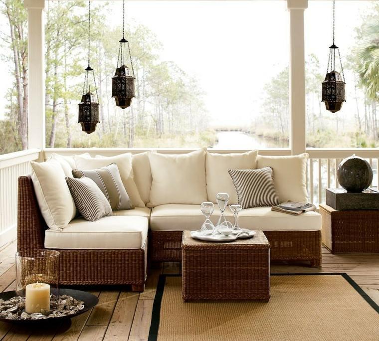 decorar porche diseno sofa comoda mimbre ideas