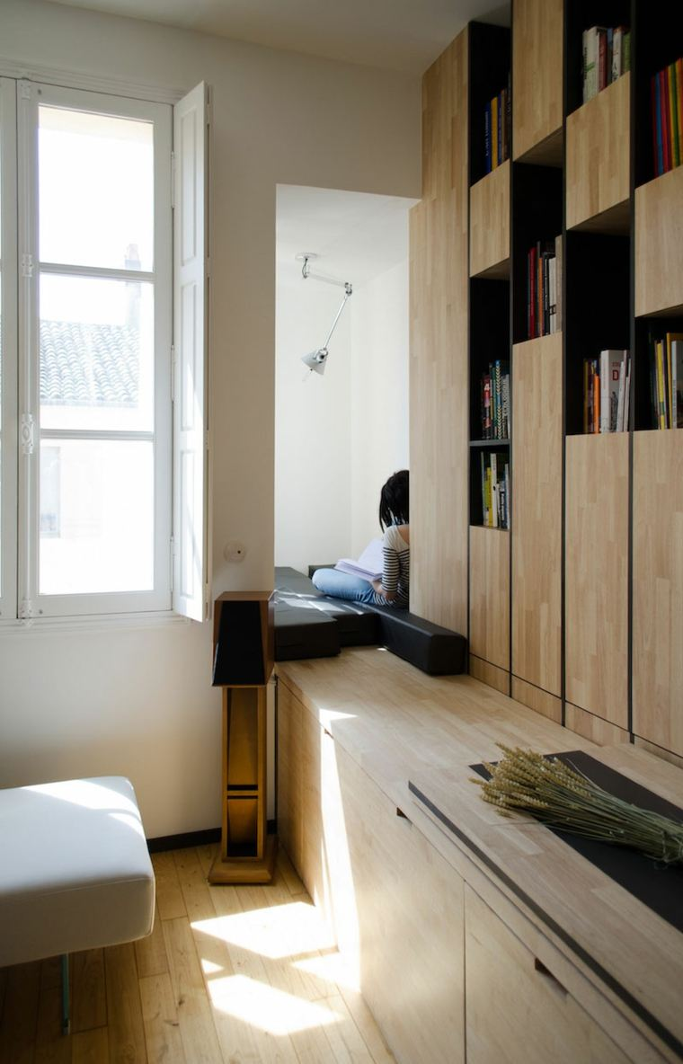 diseños de interiores ideas lsuelo madera luces