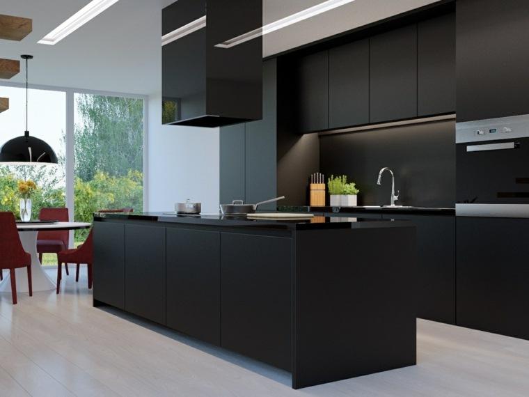 Disear cocinas elegantes con muebles de color negro