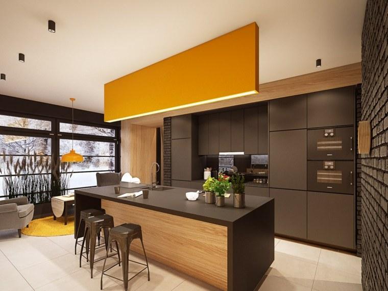 disenar cocina muebles combinacion negro naranja ideas