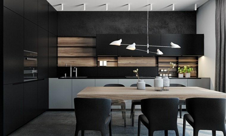 disenar cocina muebles mesa comedor madera ideas