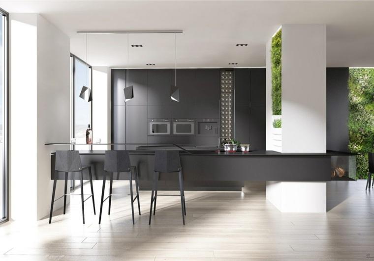 disenar cocina muebles negros jardin vertical ideas