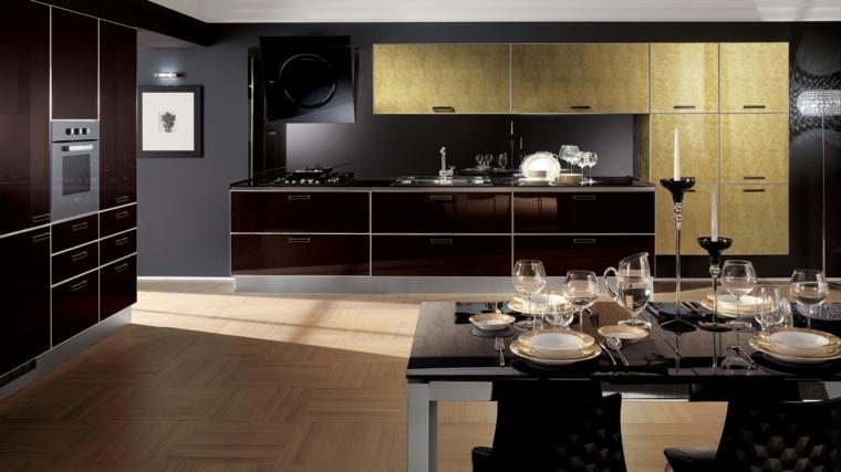 disenar cocina muebles negros opciones madera ideas