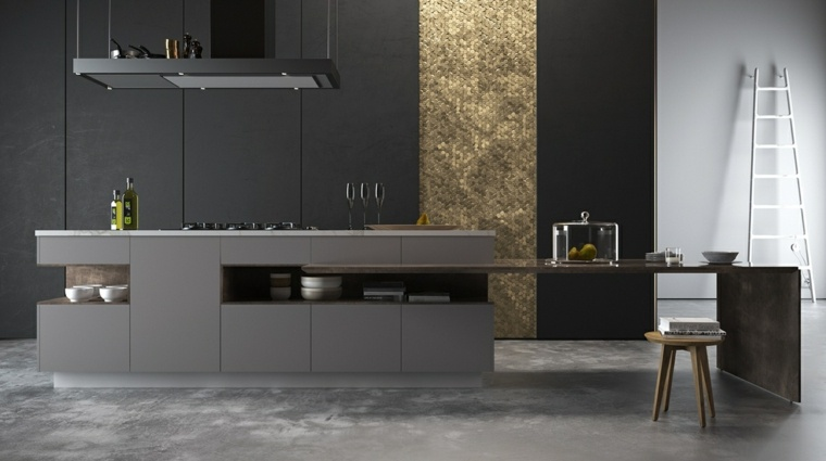 disenar cocina muebles panel decorativo oro ideas