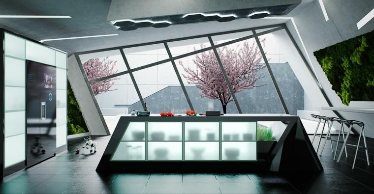 disenar cocinas muebles isla negro vidrio ideas