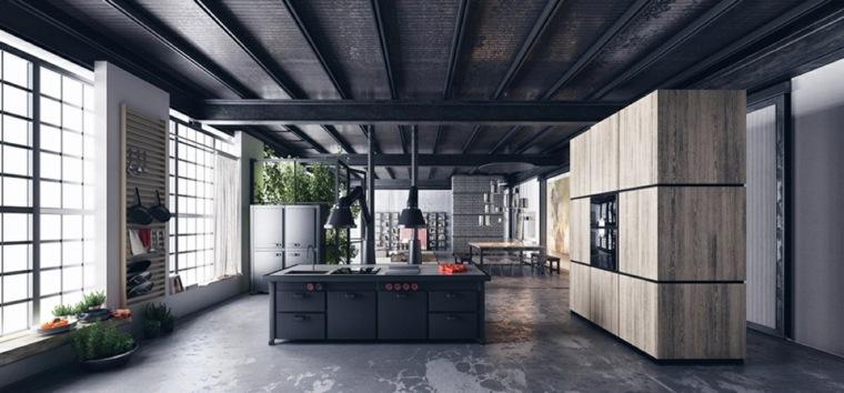 disenar cocinas muebles madera isla negra ideas