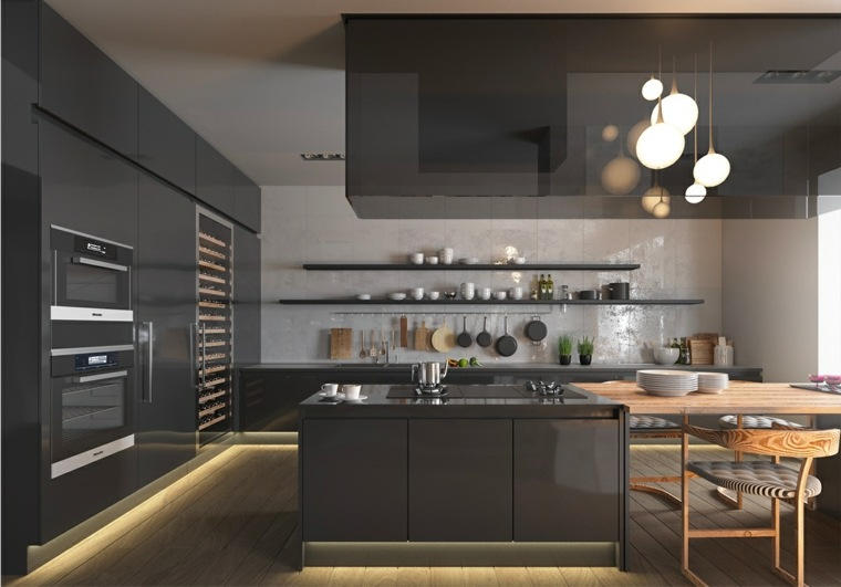 disenar cocinas muebles modernos color negro ideas