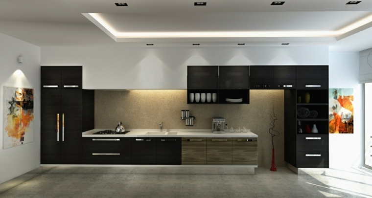 disenar cocinas muebles negros bloques pared madera ideas
