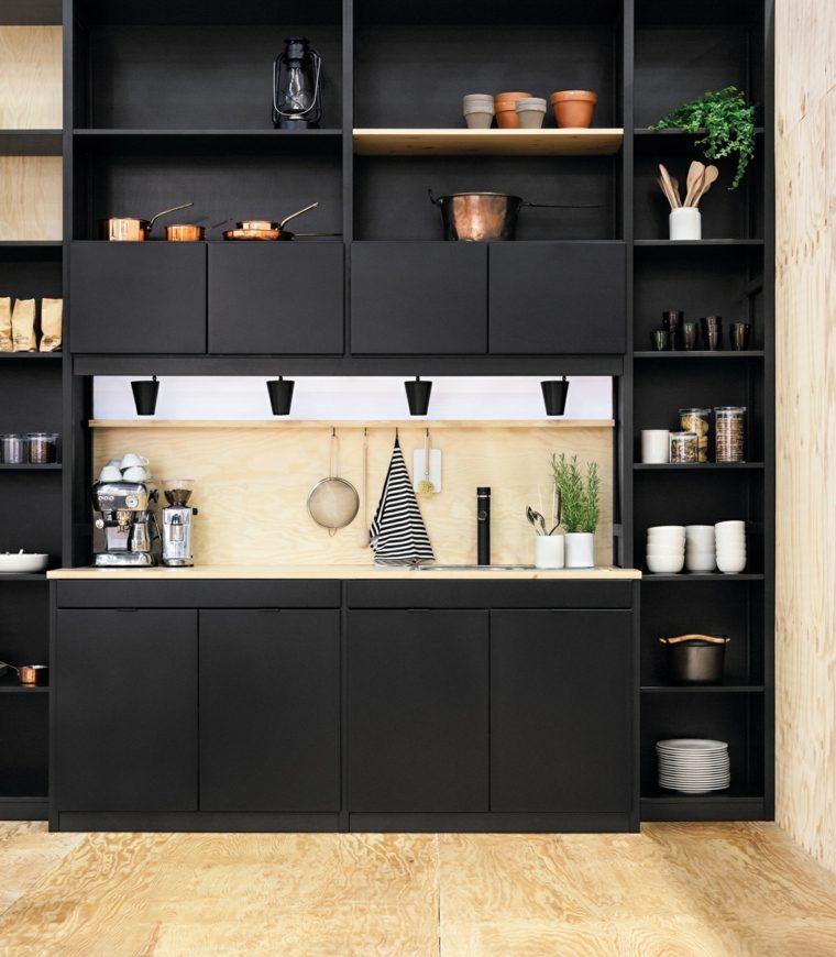 disenar cocinas muebles negros compartimentos guardar cosas ideas