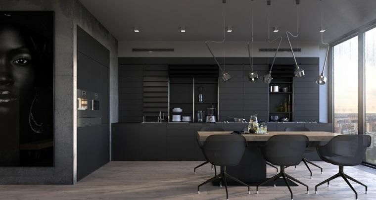 disenar cocinas muebles negros diseno minimalista ideas