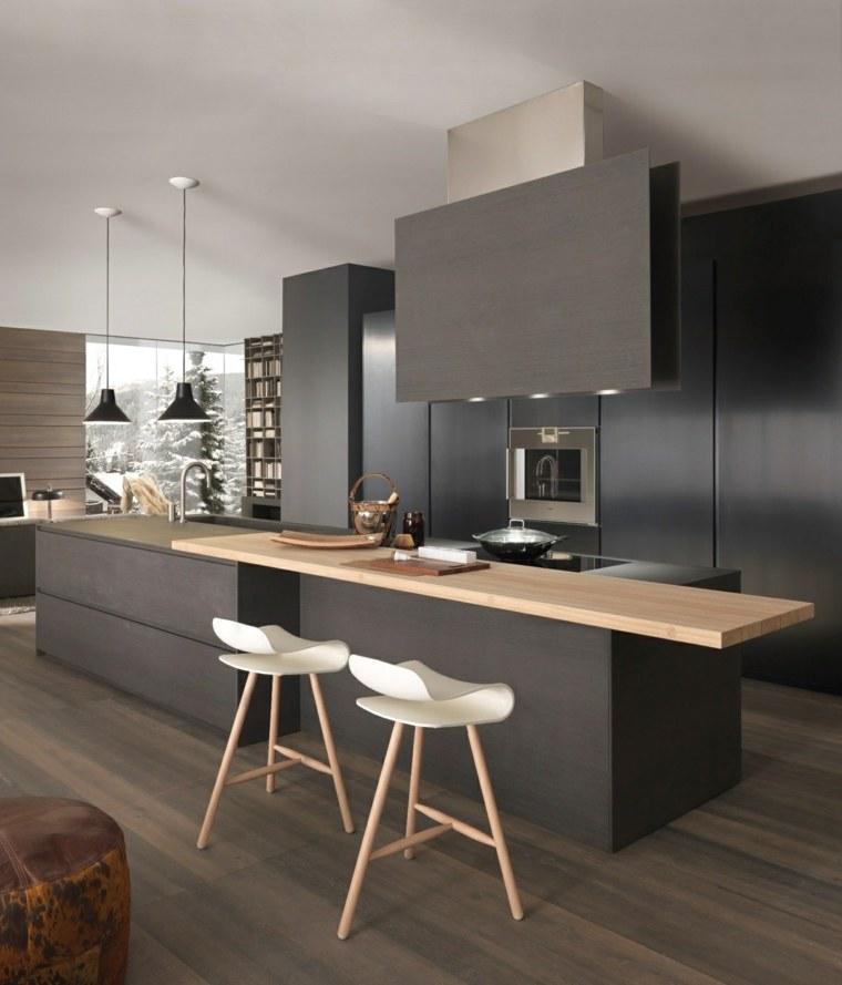 disenar cocinas muebles negros enciemra madera ideas