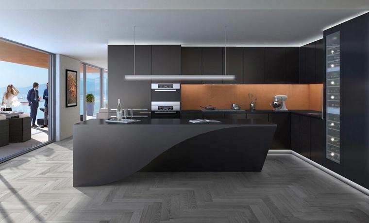disenar cocinas muebles negros isla forma curvada ideas