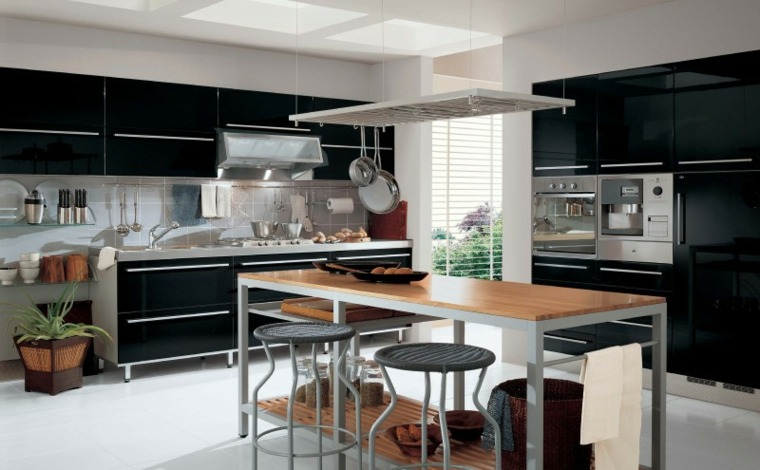 disenar cocinas muebles negros isla madera ideas