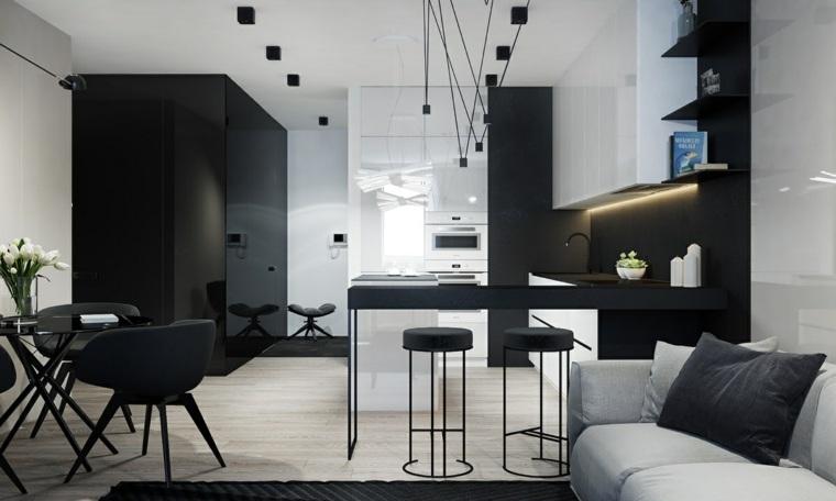 disenar-cocinas-muebles-negros-lamparas-colgantes