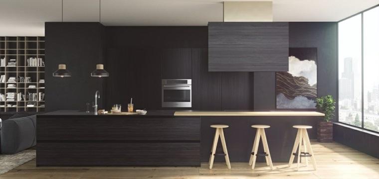 disenar cocinas muebles negros madera ideas