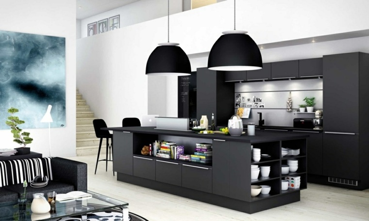 disenar cocinas muebles negros paredes color blanco ideas