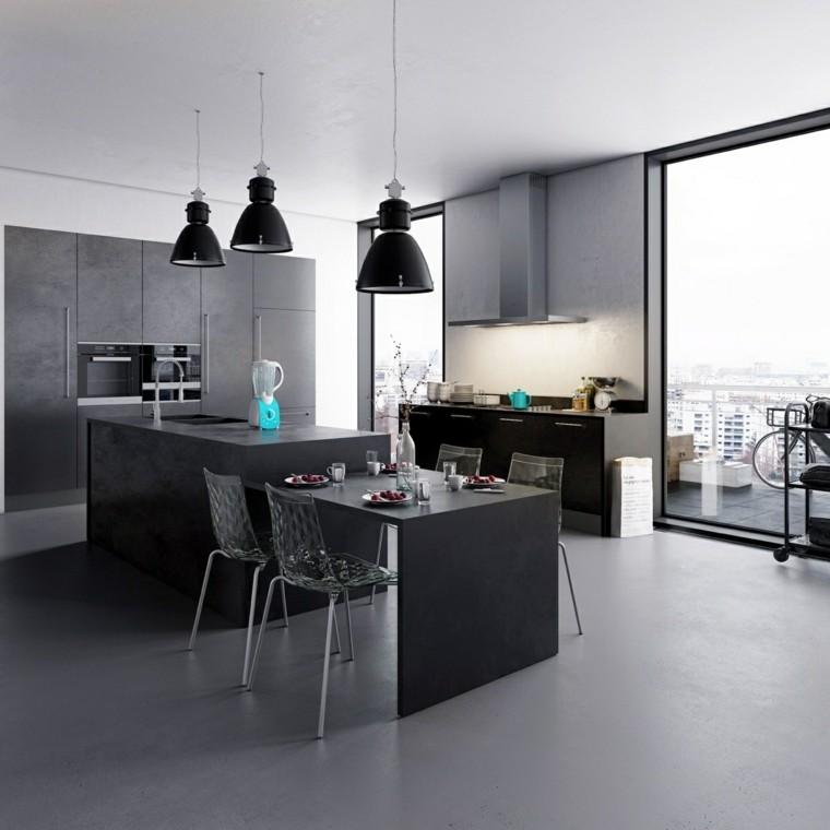 disenar cocinas muebles negros sombras gris ideas