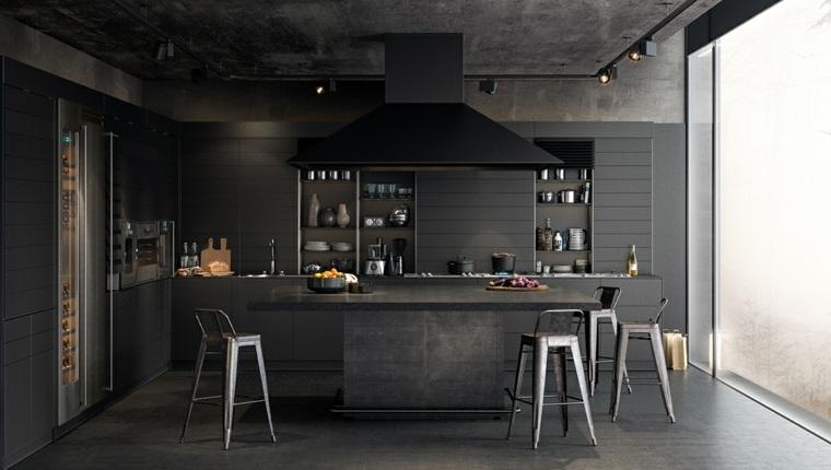 disenar cocinas muebles negros suelo techo hormigon negro ideas
