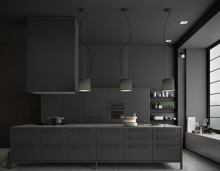 disenar cocinas muebles paredes negras elegantes ideas