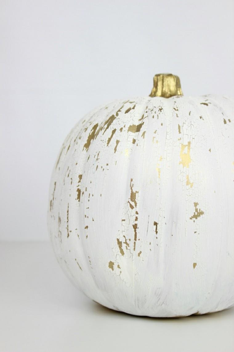 diseño calabaza pintada blanco oro