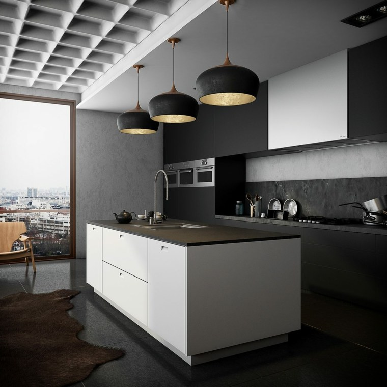 diseno cocina muebles blanco negro opciones ideas