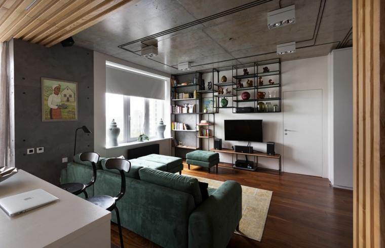 diseno de interiores accentos hormigon apartamento techo ideas