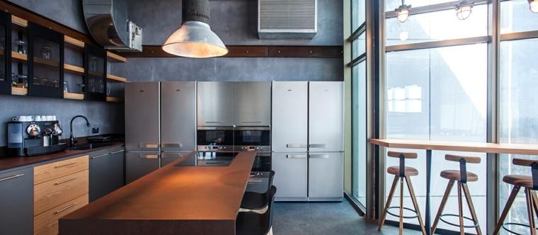 diseno de interiores accentos hormigon cocina negro ideas