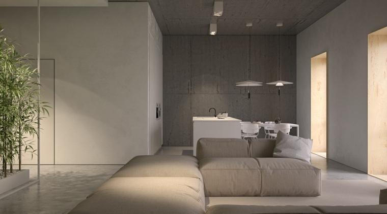 diseno de interiores accentos hormigon cocina pared ideas