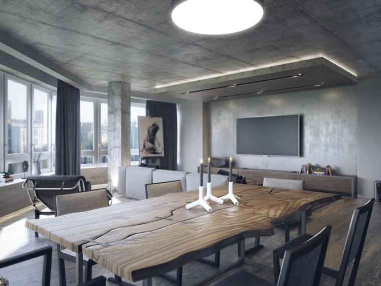 diseno de interiores accentos hormigon comedor mesa techo ideas