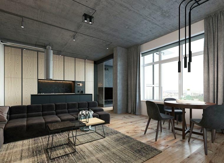 diseno interiores accentos hormigon loft techos ideas