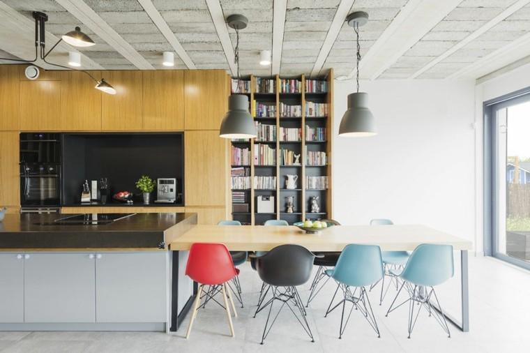 diseno de interiores accentos hormigon madera combiancion ideas
