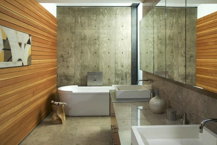 diseno interiores accentos hormigon panel madera ideas
