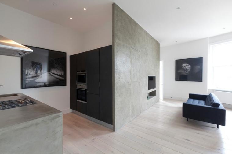 diseno de interiores accentos hormigon paneles casa ideas