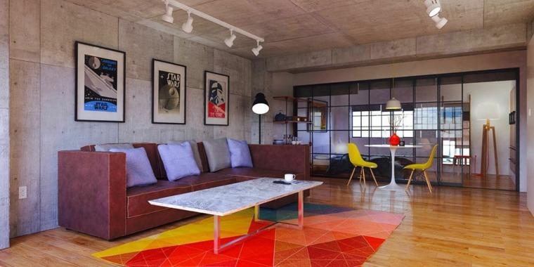 diseno de interiores accentos hormigon salon colores vibrantes ideas