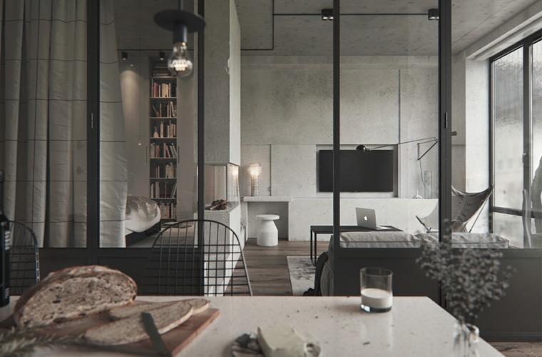 diseno de interiores accentos hormigon salon moderno ideas