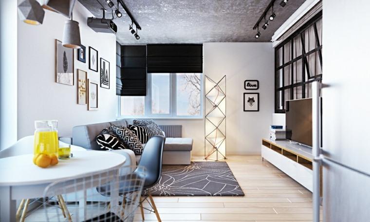 diseno de interiores accentos hormigon salon pequeno techo ideas