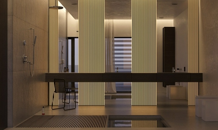 diseno de interiores bano iluminado ducha diseno minimalista ideas
