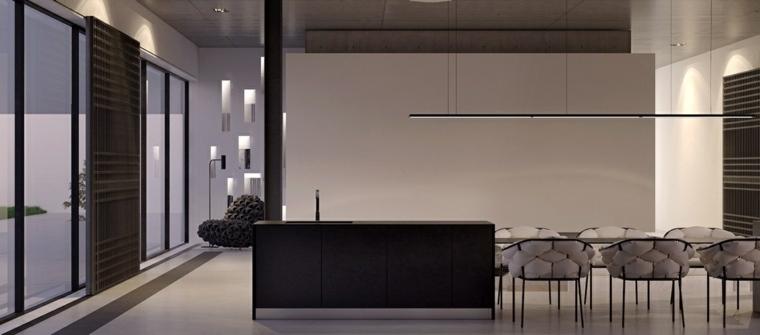 diseno de interiores minimalista geometrico negro area comida monocromatica ideas