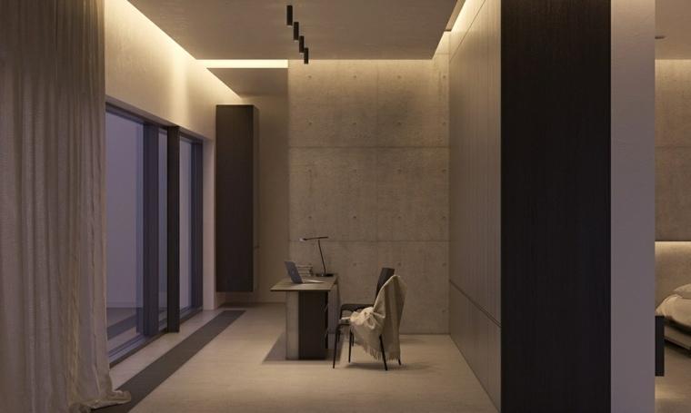 diseno de interiores minimalista hormigon escritorio diseno ideas