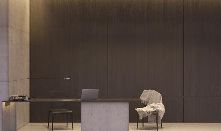 diseno de interiores oficina moderna paneles madera ideas