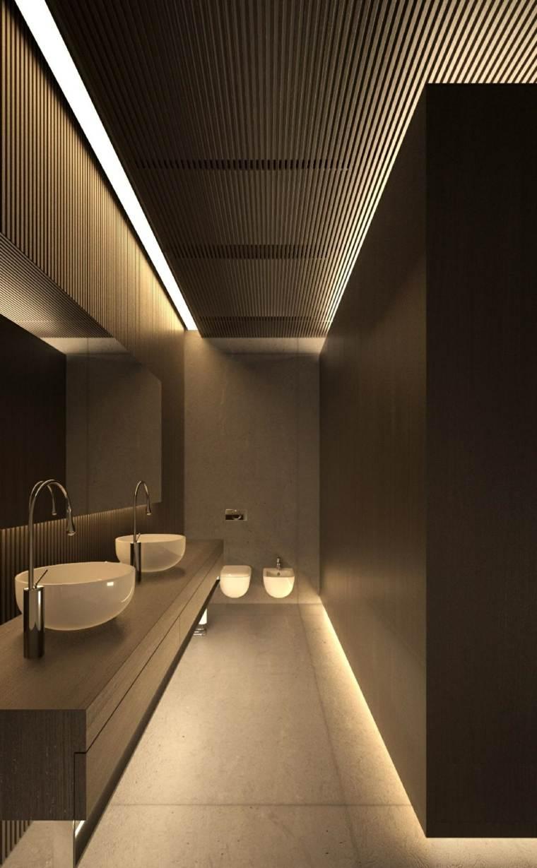 diseno de interiores paneles madera bano negro ideas