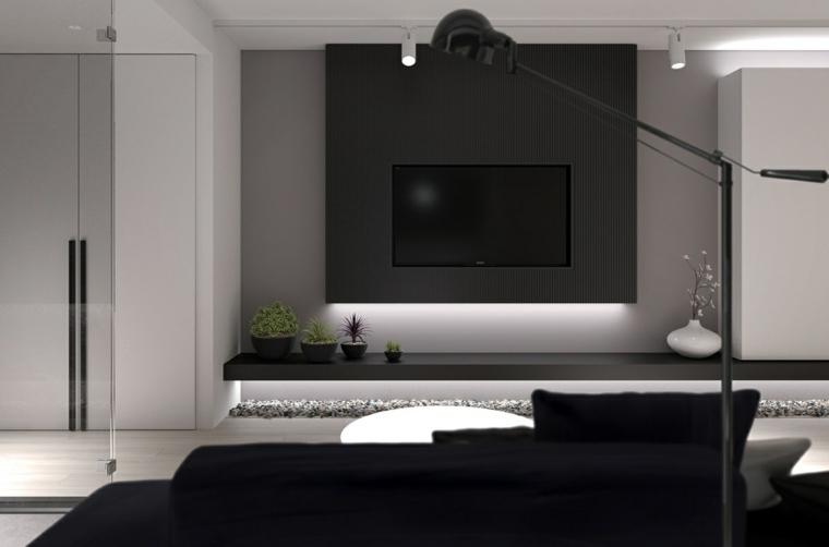 diseno de interiores pared negra diseno mocromatico ideas