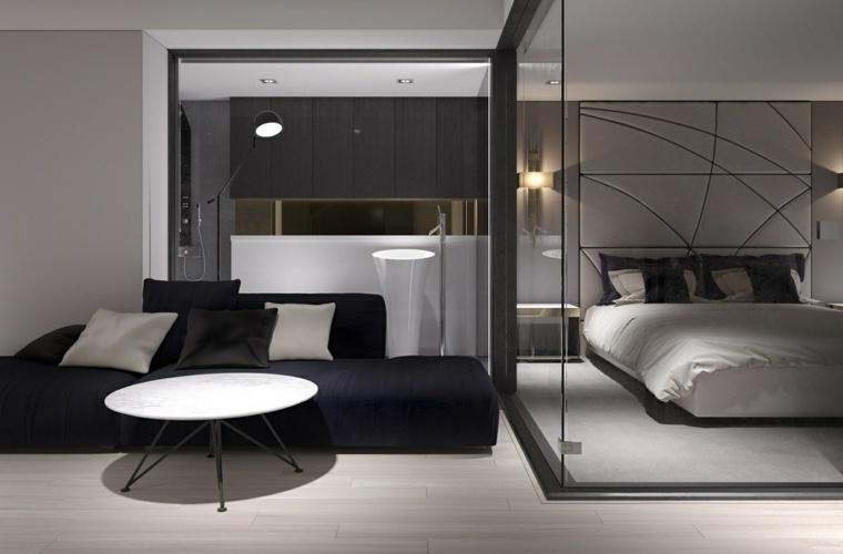 diseno de interiores sofa negra dormitorio toques industriales ideas