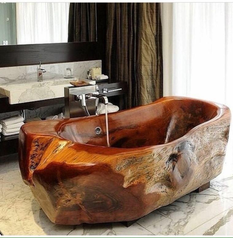 Diseno De Baños Sin Banera:Cuarto de baño de madera y piedra – 42 diseños -