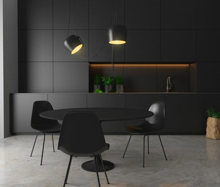diseno minimalista cocina muebles negros ideas