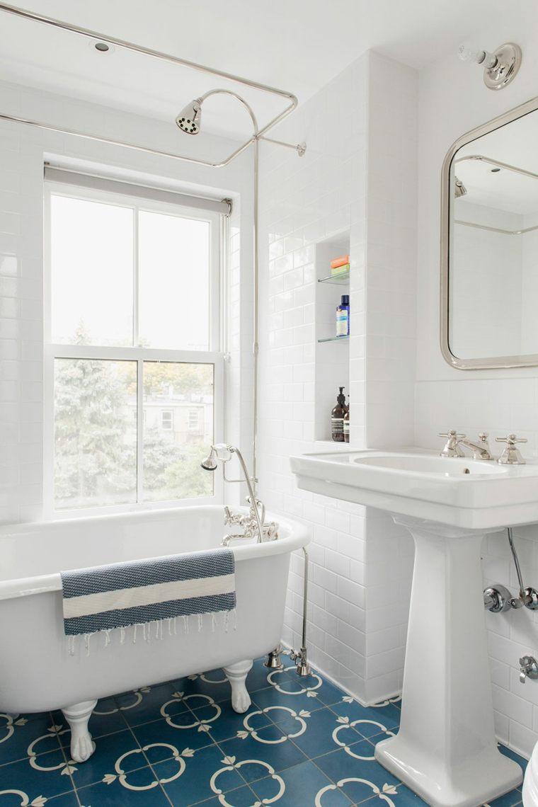 diseno retro bano banera lavabo blanco ideas