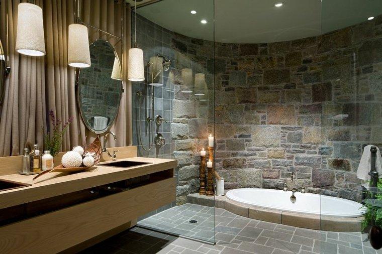cuarto de ba o de madera y piedra 42 dise os On diseno de bano moderno con madera y piedra