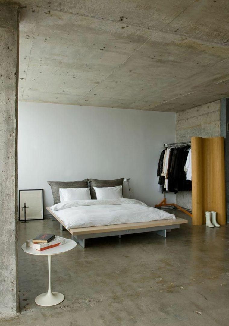 dormitorio suelo techo hormigon diseno ideas