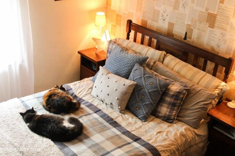 dormitorio muchos cojines gatos